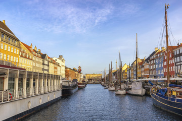 Copenhagen Denmark, city skyline at Nyhavn harbour