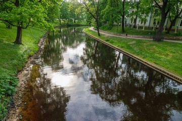 Channel in the park in downtown, Riga, Latvia