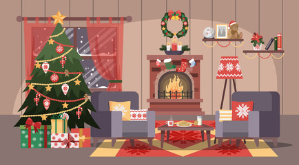 Christmas cozy room with tree and gift boxes.