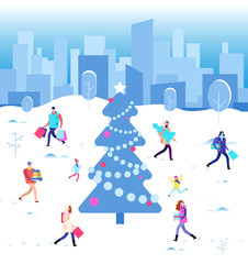 Happy christmas holiday. Winter people walking at city christmas tree. Family on winter vacation. Wintertime vector concept. Illustration of people with xmas tree