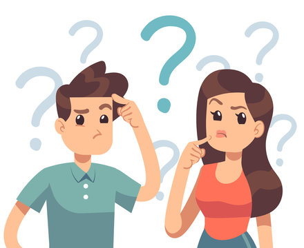 Young troubled couple. Confused woman and man thinking together. People with question marks vector illustration. Man and woman with question, thinking guy