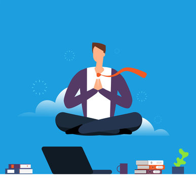 Man doing yoga and meditation. Businessman hanging in lotus pose over office desk. Calm down and avoid stress in work vector concept. Concentration position and meditating, business yoga illustration