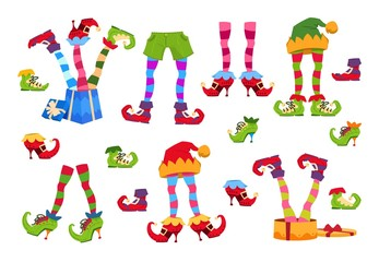 Elf feet. Elves foot in shoes and hat. Christmas dwarf leg in pants with santa gifts isolated vector set. Elf boots, christmas striped leprechaun foot illustration