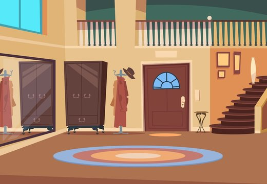 Retro hallway. Cartoon corridor interior with stairs and entrance door, wooden hanger and shoe room. Indoor house vector background. Interior hallway with entrance illustration