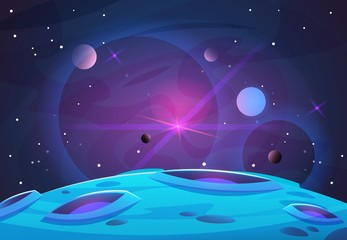 Papiers peints Prune Space and planet background. Planets surface with craters, stars and comets in dark space. Vector illustration. Space sky with planet and satellite