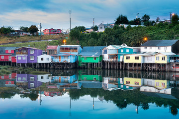 Palafitos pedro montt, traditional stilts houses of the island, Castro, Chiloe Island, Chile