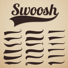 Retro texting tails. Swooshes swishes, swooshes and swashes for vintage baseball vector typography. Illustration of swoosh and swash, swish and swirl collection