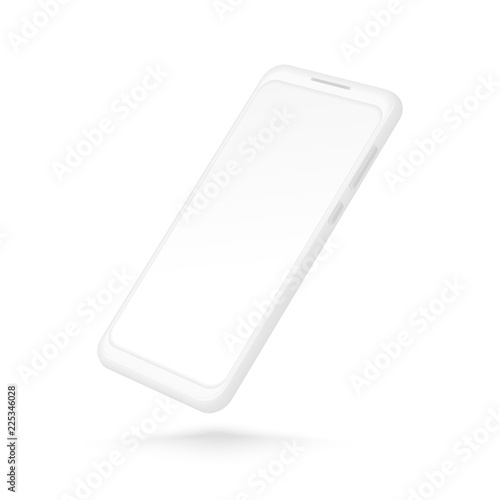 3878ab4e08198d White smartphone mockup. Realistic 3d cellphone with blank screen. Vector  modern phone template isolated