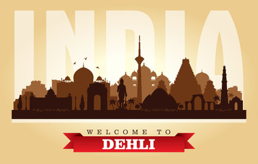 Dehli India city skyline vector silhouette