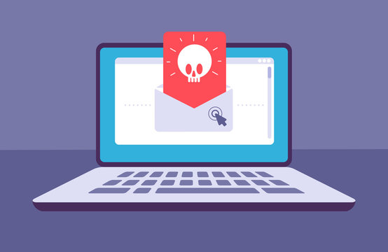 Email virus. Envelope with malware message with skull on laptop screen. E-mail spam, phishing scam and hacker attack vector concept. Spam threat on laptop, virus online malware illustration
