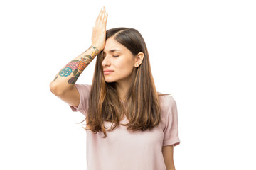 Woman Realizing Mistake And Keeping Hand On Head