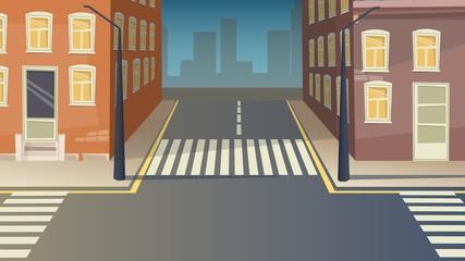 Crossroad cartoon street urban landscape. Road city crosswalk background illustration.