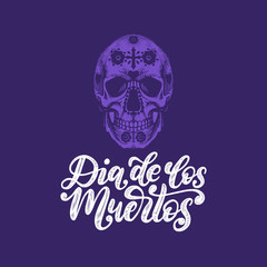 Dia De Los Muertos translated from Spanish Day of the Dead handwritten phrase. Vector illustration of colored skull.