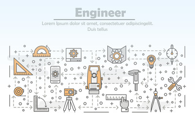 Vector thin line engineer poster banner template
