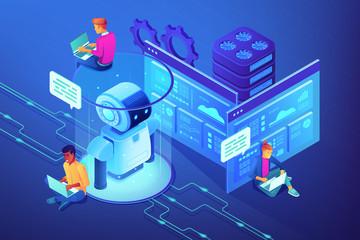 Robotics developers team with laptops work on robot automation process. Robotics design and programming, robotics algorithm and software concept. Ultraviolet neon vector isometric 3D illustration.