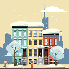 Multicolored multi-party cozy houses on background of skyscrapers of business center and gloomy yellow winter sky. Flat illustration of winter city landscape. Street cityscape with playing children