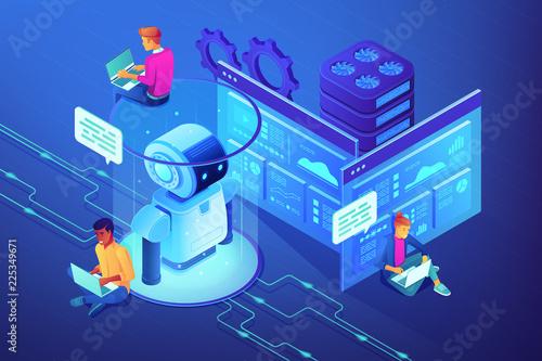 Robotics developers team with laptops work on robot