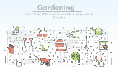 Vector thin line gardening poster banner template