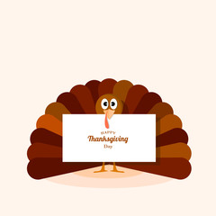 Turkey with white banner. Thanksgiving day. Vector illustration design.