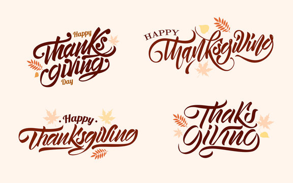 Set of happy thanksgiving day in lettering style with autumn leaves. Vector illustration design.
