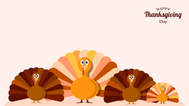 Set of turkeys . Fun background for thanksgiving day. Vector illustration design.