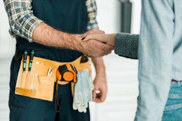 cropped image of plumber and customer shaking hands in kitchen Wall mural