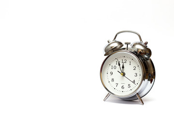 alarm clock on white background, Vintage tone, time concept