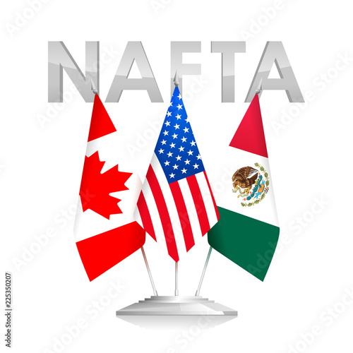 Flags Of Nafta Countries Canada Usa And Mexico The North American