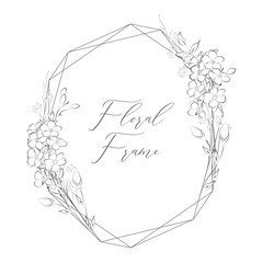 Vector Delicate Floristic Geometric Frame with Flowers