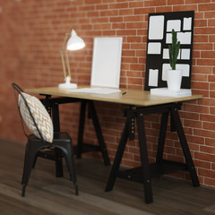 Interior of home workplace. Brick wall, wooden floor. 3D rendering.