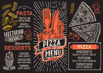 Pizza menu food template for restaurant with doodle hand-drawn graphic.