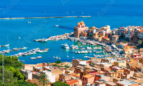 Wall mural Aerial view of harbor and historic part of Castellammare del Golfo, province of Trapani, Sicily island, Italy