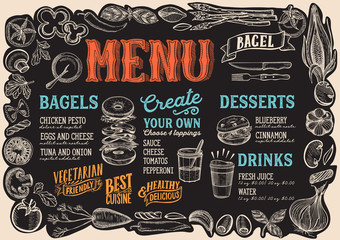 Bagel and sandwich menu for restaurant with frame of graphic vegetables.
