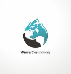 Winter destinations travel agency logo. Creative symbol made from mountain shape and globe. Vector icon, emblem, logo, sign.