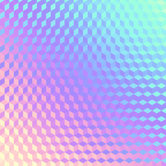 Blurred background. Geometric abstract pattern in low poly style. Effect of a glass. Small cubes. Vector image.
