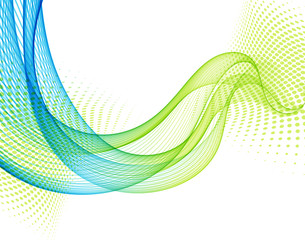 Abstract vector background with blue and green smooth color wave