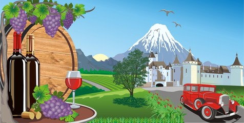 Landscape-wine, grapes and a wooden barrel for wine. Castle and retro car on the background of mountains and vineyards.