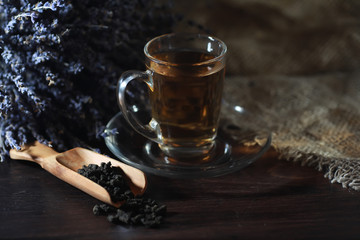 Brewed tea on a serving table