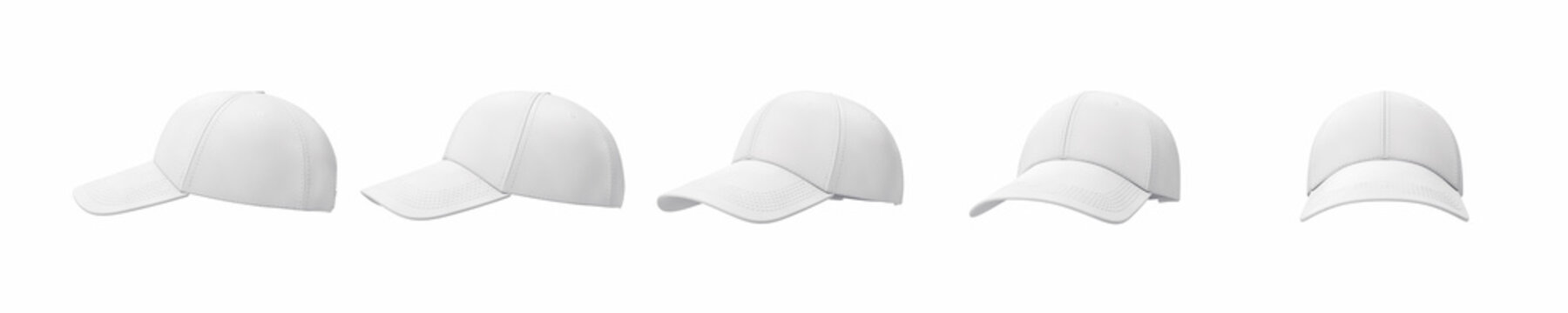 3d rendering of five white baseball caps shown in one line from side to front view on a white background.