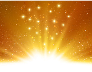 Vector shiny Abstract magic gold light background