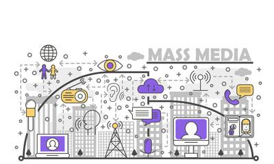 Vector thin line mass media poster banner template