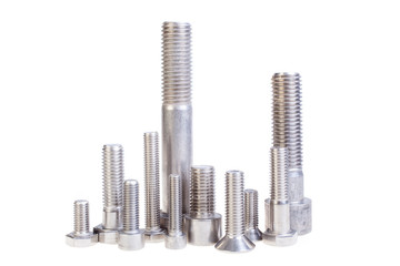 Many types of metal bolts, isolated. Cityscape made from bolts