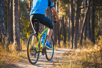 low angle view of cyclist riding mountain bike in the forest in the morning