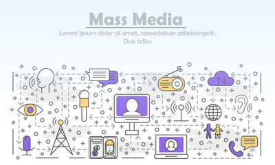 Vector thin line mass media poster banner template