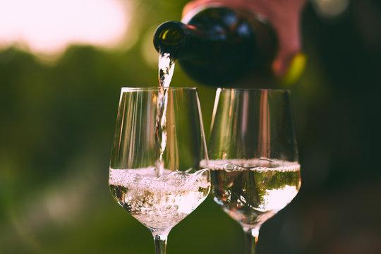 Pouring white wine into glasses,