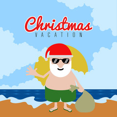 Santa claus on a beach. Christmas summer vacations. Vector illustration design