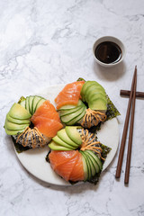 Sushi donuts with salmon avocado and cucumber
