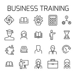 Business training related vector icon set.