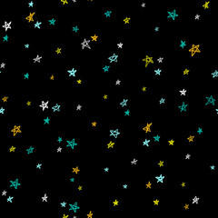 Seamless pattern with hand-drawn colorful stars on black background. Vector illustration