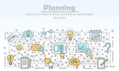 Vector thin line planning poster banner template